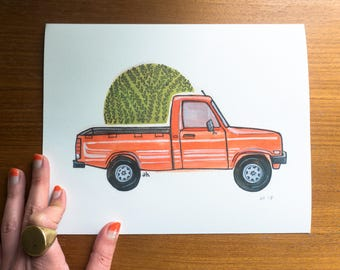 Vintage Red Truck Print, 1980's Truck, Red  Truck Art, Vintage Car Illustration, Wall Art, Red Mazda Truck