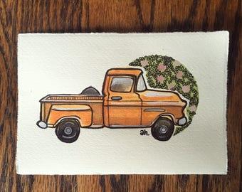 Custom Vintage Truck Portrait, Pick-Up Truck Illustration, Customized Retro Trucks, Camper Truck Illustration, Ford Truck Drawing, Datsun