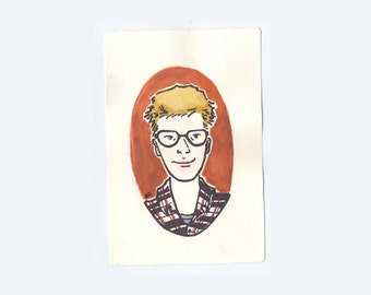 Personalized Portrait   Original Gouache and Ink Painting Made to Order