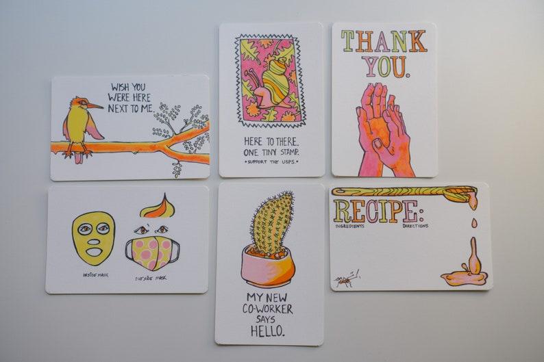 Social Distancing  Quarantine Themed  Humorous Postcard Set image 0