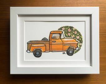 Vintage Orange Chevy Print, 1940's Truck, Orange Antique Truck Art, Vintage Car Illustration, Wall Art, Chevy Truck