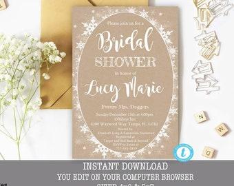winter bridal shower invitation bridal shower template kraft winter bridal shower invitation rustic template editable snowflake invite