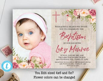 Baptism invitations etsy baptism invitation floral baptism invitation baptism invitation template girl baptism invitation printable baptism invitation you edit stopboris Images
