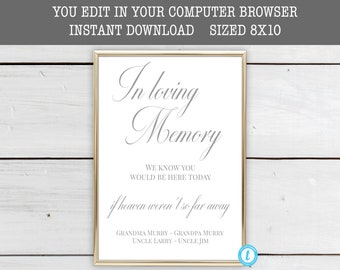 In Loving Memory Printable Sign Memory Sign Instant   Etsy