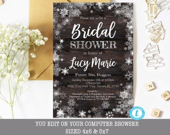 winter bridal shower invitation rustic winter bridal shower invitation bridal shower template rustic template editable snowflake invite