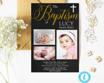 Baptism Invitation Template, Printable Baptism Invitation, Instant Download, Baptism Template, Gender Neutral, Chalkboard, Baptism, Template