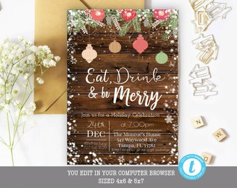 Ugly Sweater Christmas Party Invitation Rustic Christmas Etsy