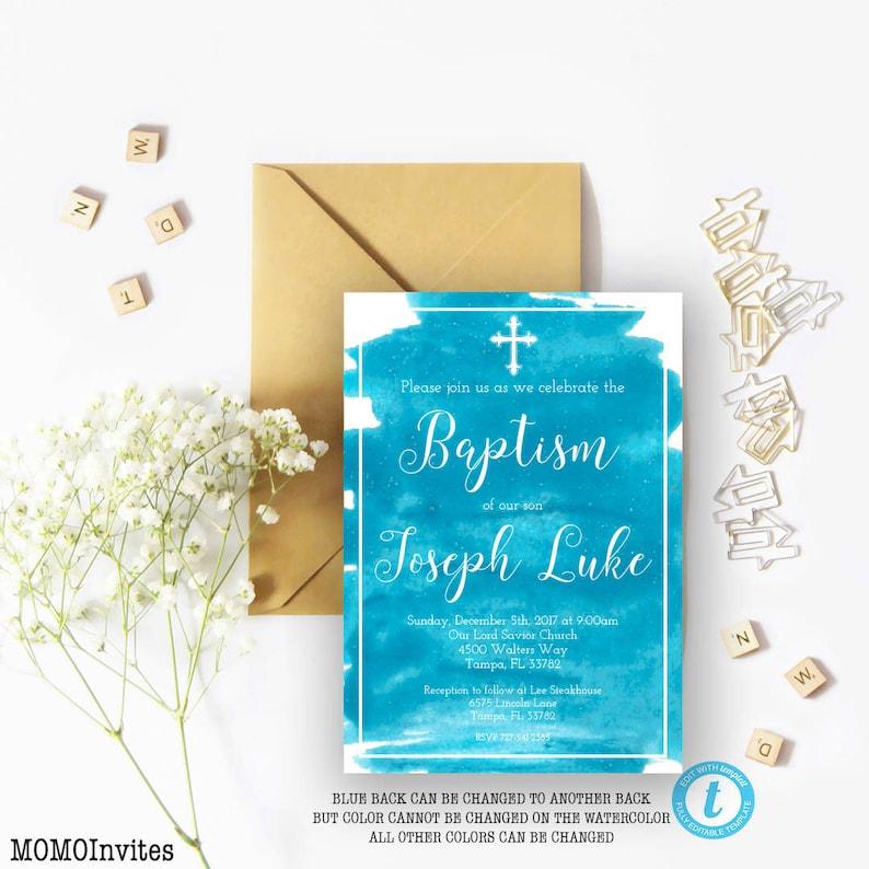 Baptism Invitation Template DIY Printable Boy