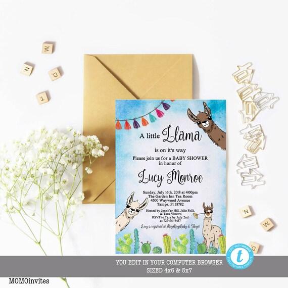 llama baby shower invitation llama baby shower template etsy