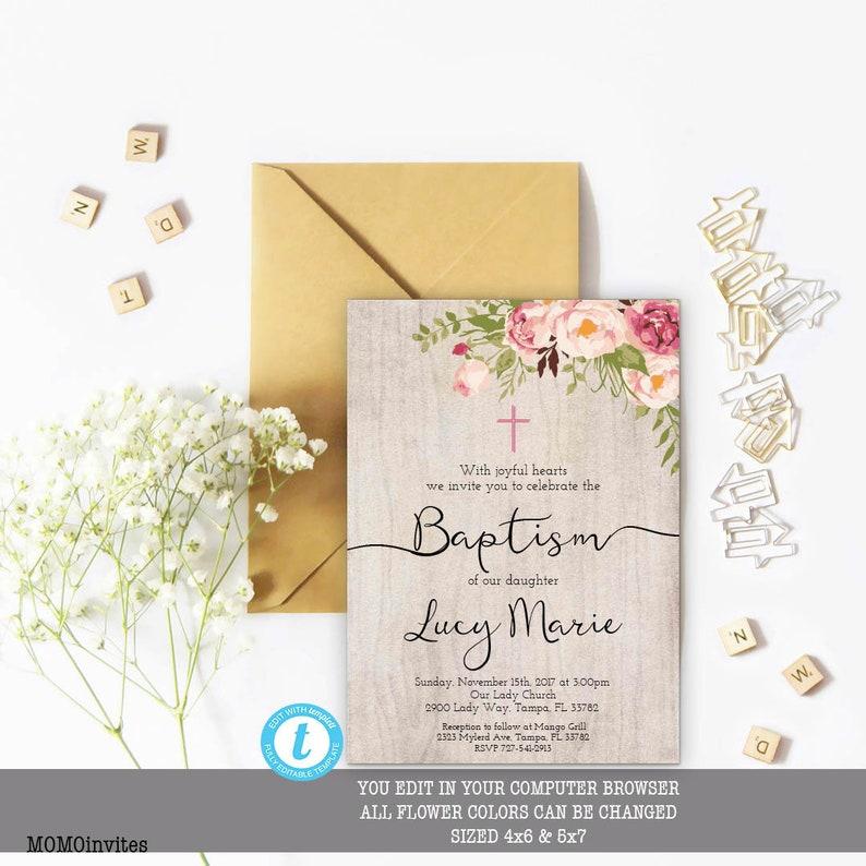 Taufe Einladung Floral Taufe Einladung Taufe Einladung Vorlage Mädchen Taufe Einladung Bedruckbare Taufe Einladung Sie Bearbeiten