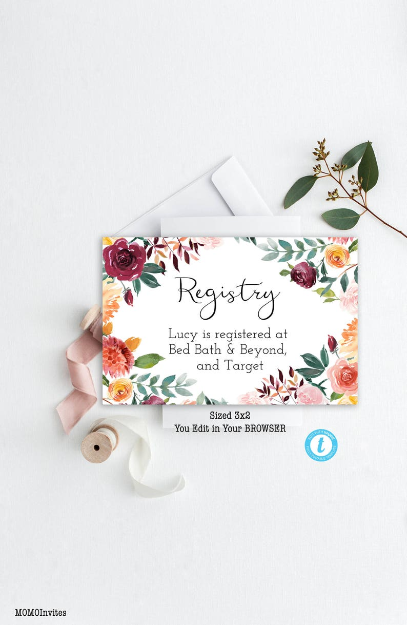 Floral Registry Information Template Registered At You Edit Boho Registry Template Template Editable Registry Wedding Registry Card