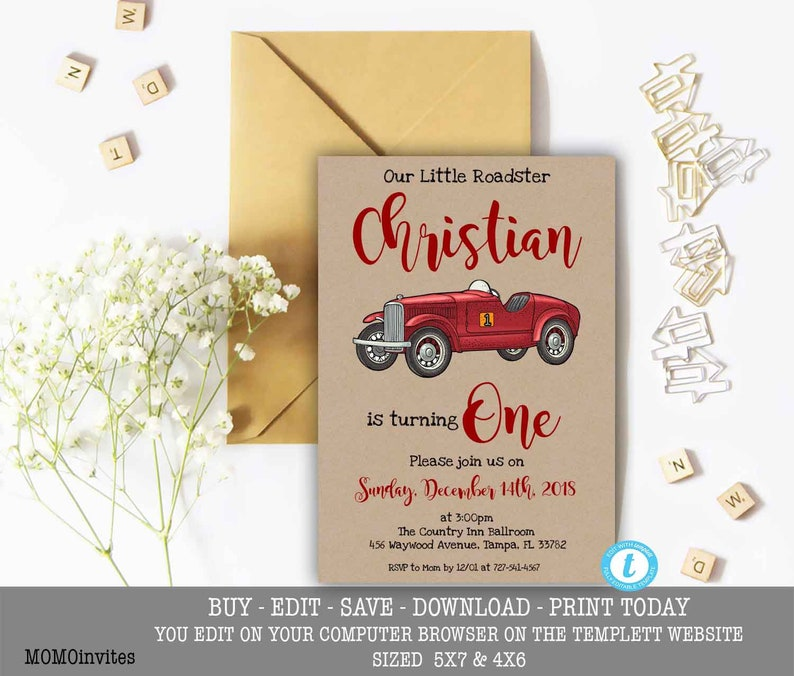 Red Roadster Birthday Invitation Editable Printable Car First Template You Edit Yourself 1st Any Age 1 DIY