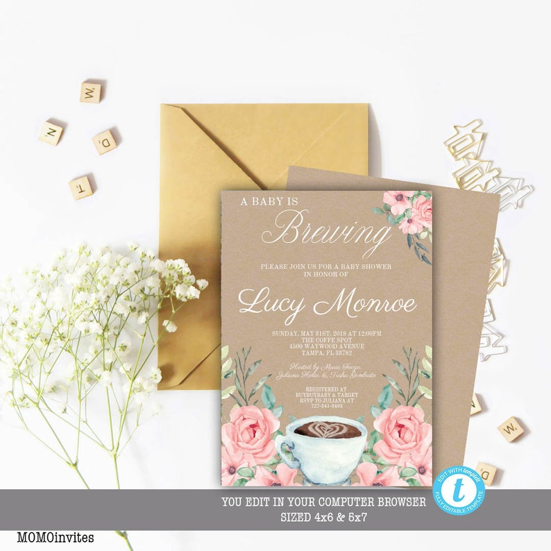 Coffee Baby Shower Invitation A Is Brewing Template Instant Download Editable Printable Girl