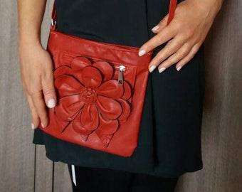 Vintage 80s Red Flower Crossbody Bag Purse