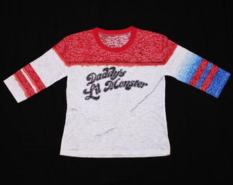 d054587d0 Harley Quinn Daddys Lil Monster 3/4 Shirt Burnout T-shirt Ripped. SS Harley  Quinn costume Suicide Squad cosplay. DC comics Gotham heroes.