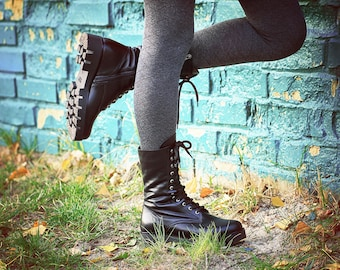 Black Combat Boots Women Leather Spring Boots Fur Rocker shoes Military Boots Black leather gothic shoes tactical boots tall lace up