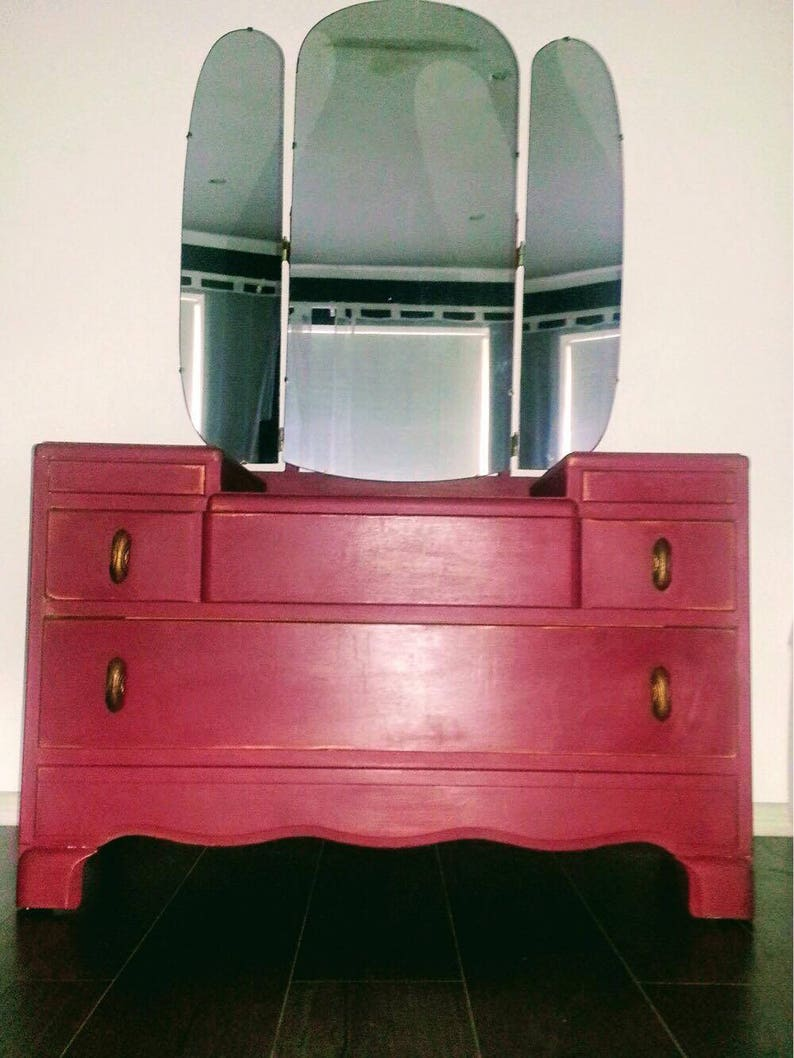 new arrival 18963 6c0b7 SOLD Lebus dressing table/ chest of drawers Annie Sloan chalk paint Burgundy
