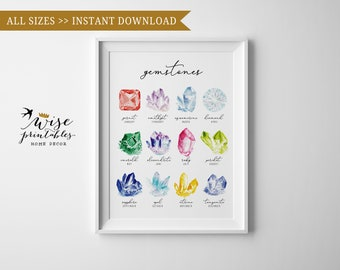 Birthstone Chart Print Watercolor Crystal And Gems Printable Wall Art Gemstone Drawing Poster Colorful Decor Rockhound Jeweller Gift DIY