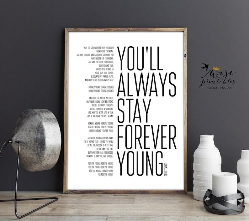 Rod Stewart Forever Young Lyrics decor song print black ...