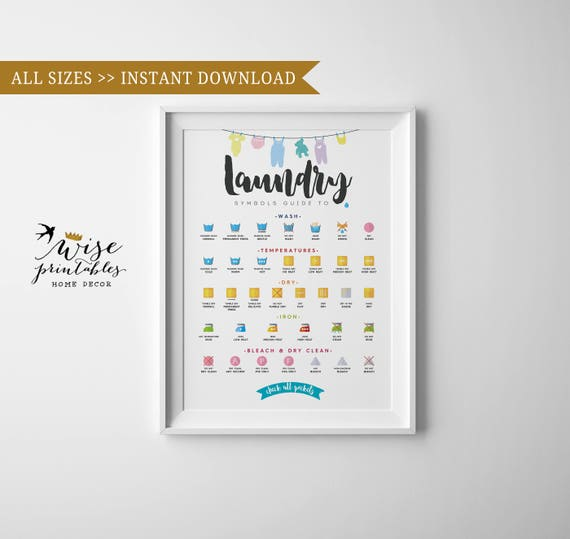 Laundry Room Care Symbols Giude Clothes Washing Chart Etsy