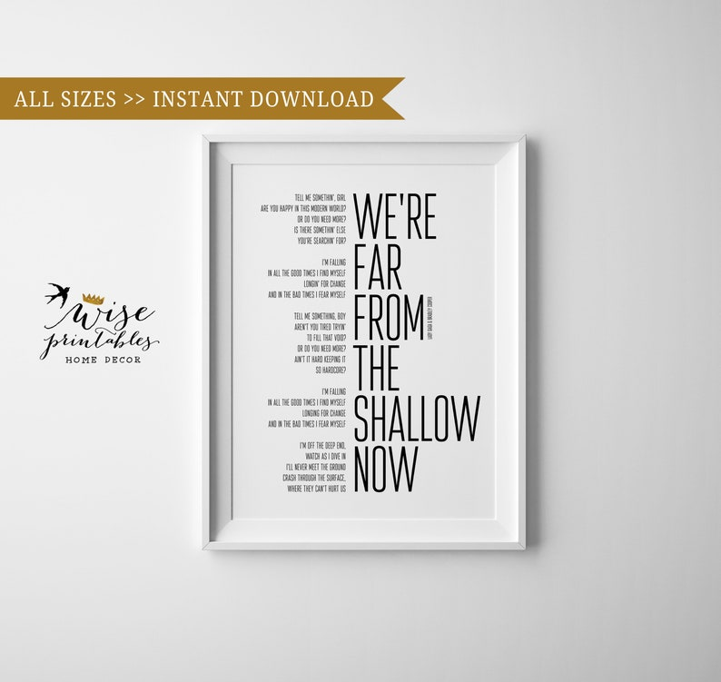 Far from the shallow song print, Lyrics decor, Printable wall art, black  white monochrome Scandinavian home Quote poster, bride wedding gift