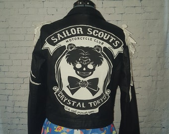 Sailor Moon Biker faux leather moto jacket with wings