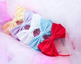Headbow lolita pastel | pastel pink blue green lilac black white yellow and gingham