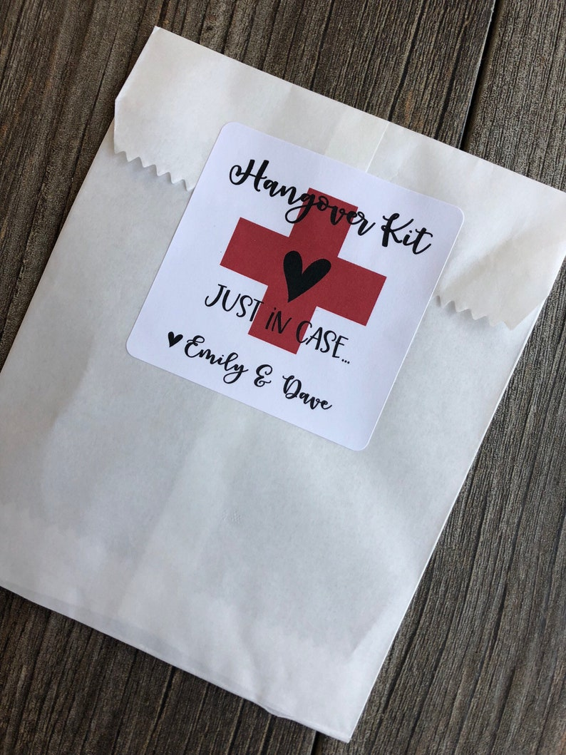 Hangover kit sticker, hangover kit, in sickness and in health, wedding  welcome bag stickers
