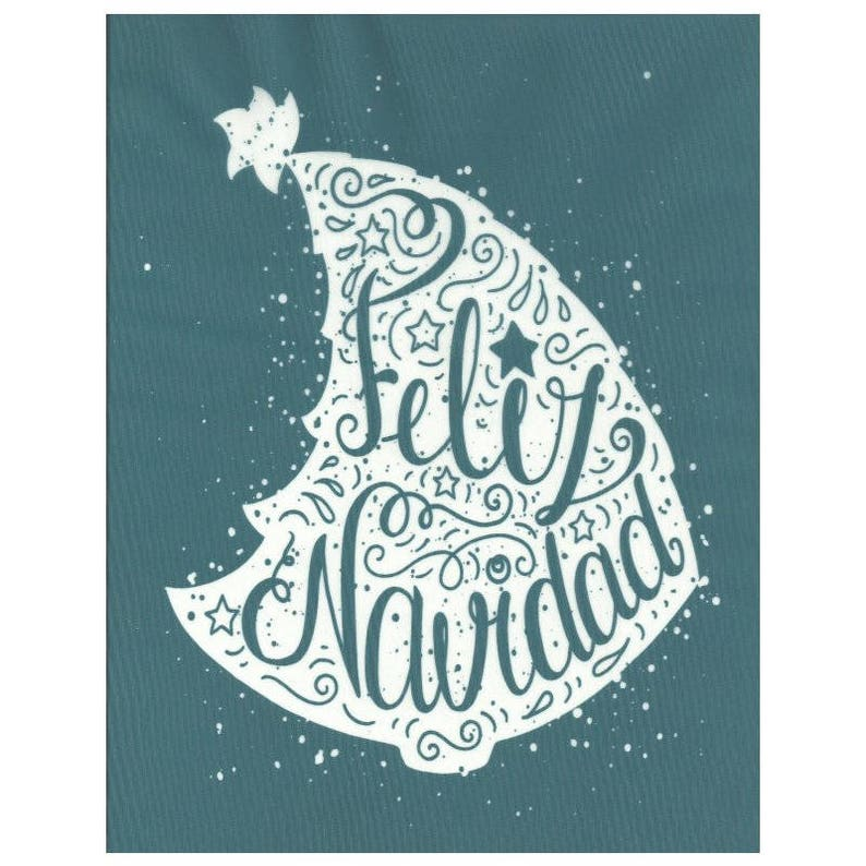 Silk Screen Printing Stencil, Feliz Navidad Christmas Holiday Design,  Chalkboard Stencil, Ceramic, Wood, T-Shirts, Pillows, Tote-bags, Glass