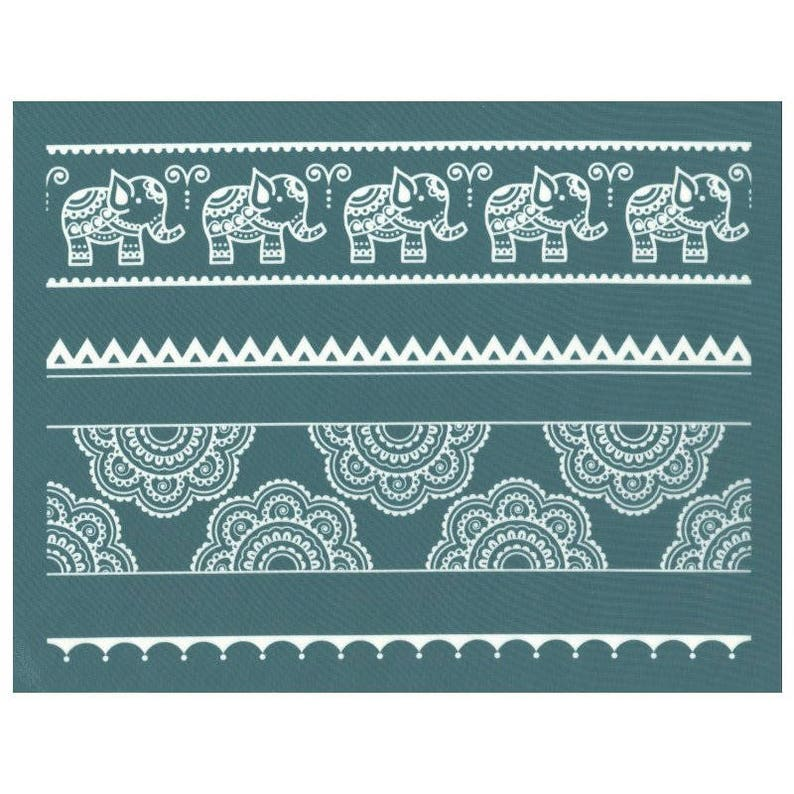 DIY Silk Screen Printing Stencil, Mehndi Lace & Elephants Design, for  Polymer Clay, Ceramic, Wood, T-Shirts, Pillows, Tote-bags, Glass etc!