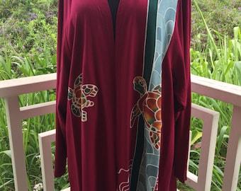 Maroon Batik Hawaiian Turtle Kimono