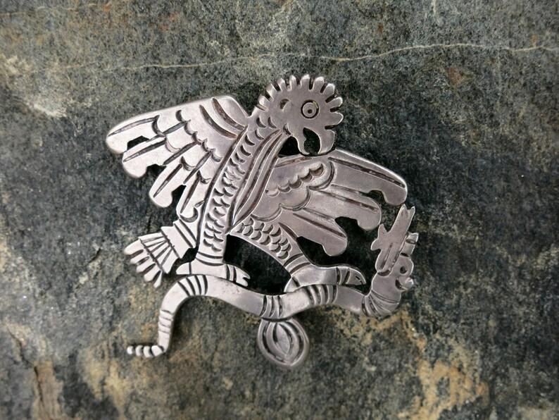 Spectacular 1930/'s Vintage TAXCO Eagle /& Snake Brooch Stamped 980 Sterling