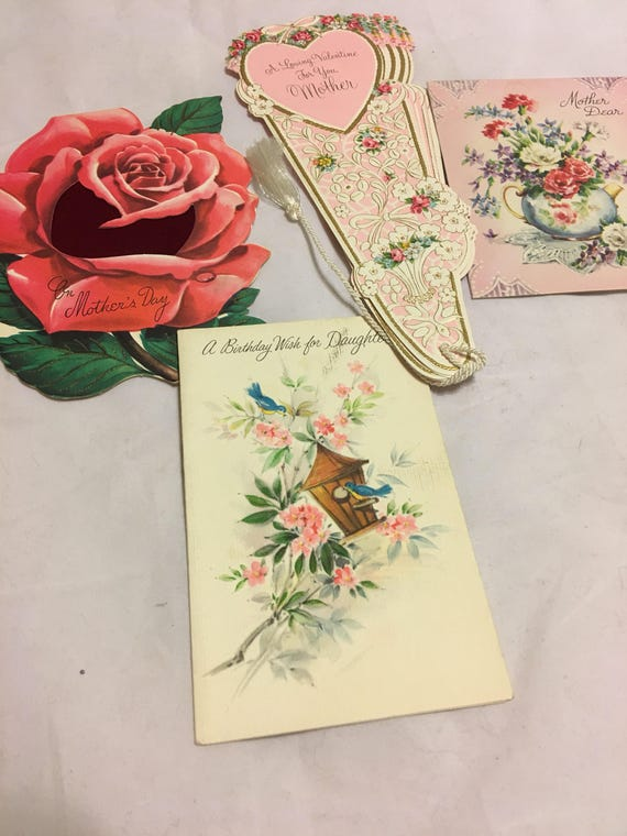 Vintage Mother And Daughter Greeting Cards 60s 70s