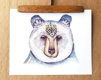 """Reproduction of a watercolor work of art, bear poster """"Loving bear"""", placard, poster, illustration, sacred art, wall decoration"""