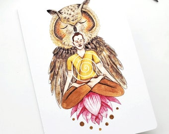 """Greeting Card """"The power of the sacred masculine"""", watercolor and pencil art illustration, greeting card, birthday card, wish card"""