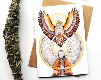 """Eagle Greeting Card """"Connection moment"""", watercolor and pencil art illustration, greeting card, sacred art"""