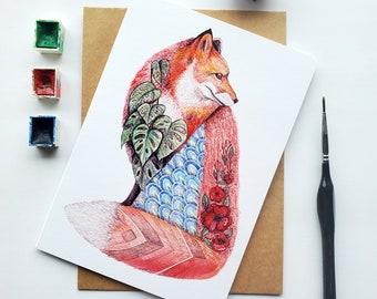 "Fox greeting Card ""Sensitivity"", watercolor and pencil art illustration, greeting card, sacred art"