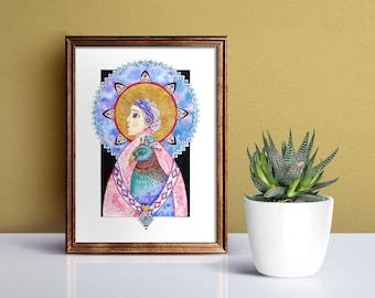 "Peacock bird poster ""Wisdom"", watercolor and pencil art illustration, placard, artwork, poster, sacred art, wall decor"