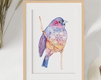 """Reproduction of a watercolor work of art, bird poster """"The universe itself"""", placard, poster, illustration, sacred art, wall decoration"""