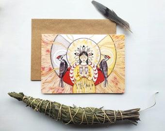 "Greeting Card ""Homeland"", watercolor and pencil art illustration, greeting card, birthday card, wish card"