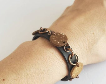 Modern bracelet made from recycled motorcycle inner tube embellished with round coconut pieces, OOAK