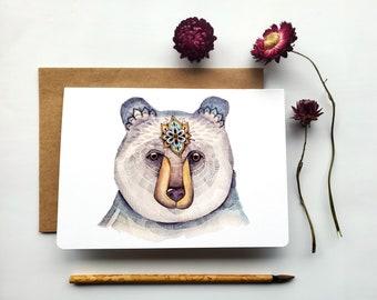 "Bear Greeting Card ""Loving bear"", watercolor and pencil art illustration, greeting card, sacred art"
