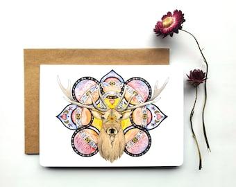 "Deer Greeting Card ""Purification"", watercolor and pencil art illustration, greeting card, sacred art"