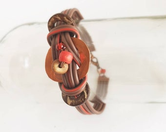 Bracelet made of recycled copper pipe and electrical wires decorated with coconut and marbles, OOAK