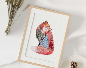 """Reproduction of a watercolor work of art, fox poster """"Sensitivity"""", placard, poster, illustration, sacred art, wall decoration"""