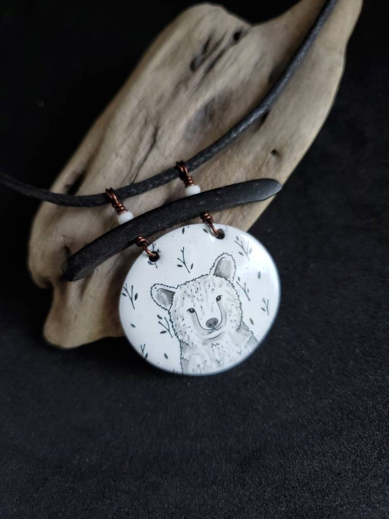 original bear necklace nature lover gift hand made animal totem animal woodland jewelry enamel on recycled copper one of a kind art