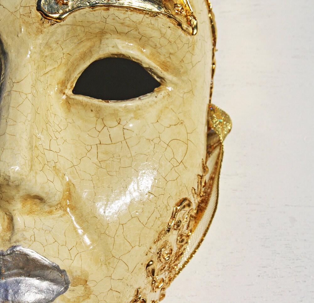 Pierrot Unique Masquerade Mask Harlequin Handmade Decorated