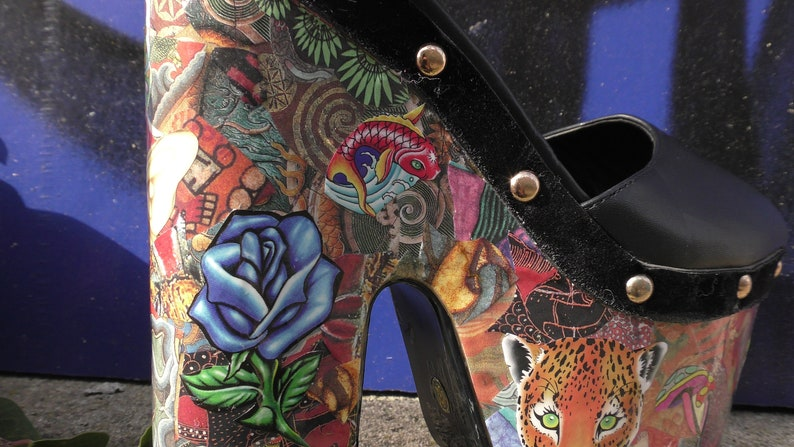 UK size 3 Platform chunky ladies shoes custom made hand collaged One off Unique Hand crafted Gothic Punk Original Art