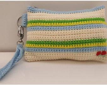 Cream Stripe Zip Clutch Purse, Wristlet, Small Handbag