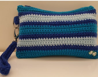 Blue Stripe Zip Clutch Purse, Wristlet, Small Handbag